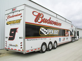 Kasey Kahne Racing Team T&E 53' Sprint Car Semi Trailer - Exterior View - Click to Launch Photo Gallery